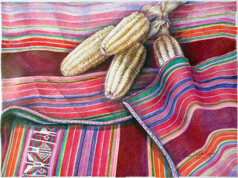 Copper Drawing - Choclos Entre Aguayos by Sonia Tudela