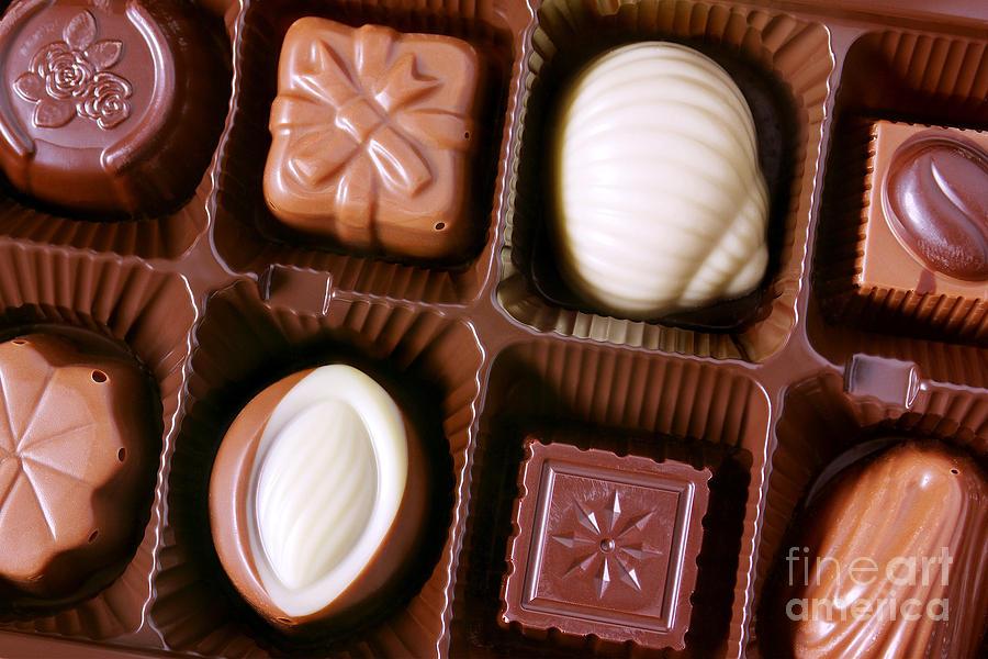 Assorted Photograph - Chocolates Closeup by Carlos Caetano