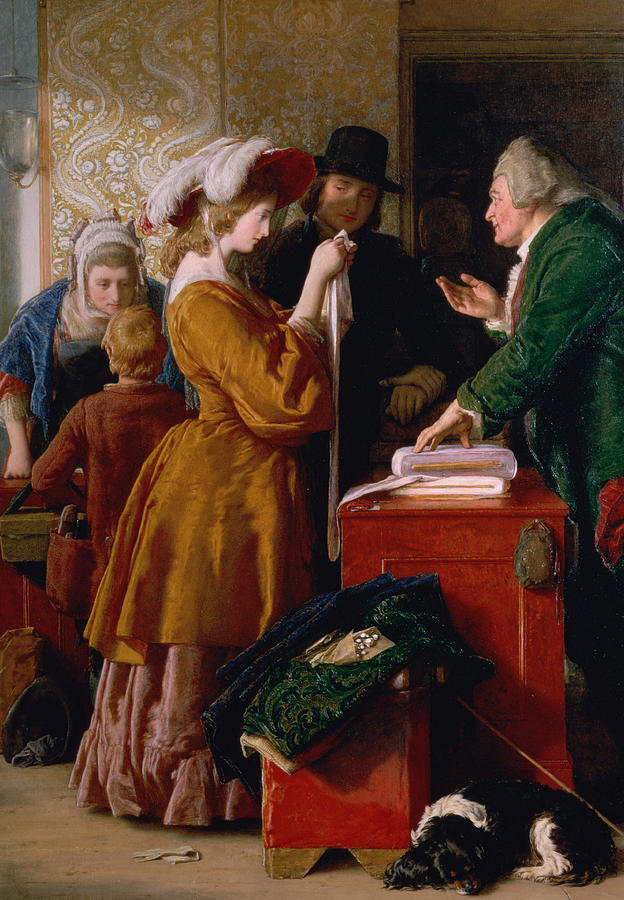 William Painting - Choosing The Wedding Gown From Chapter 1 Of the Vicar Of Wakefield by William Mulready