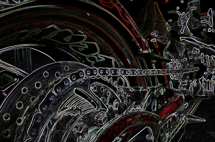 Motorbike Mixed Media - Chopped An Trond by Travis Crockart