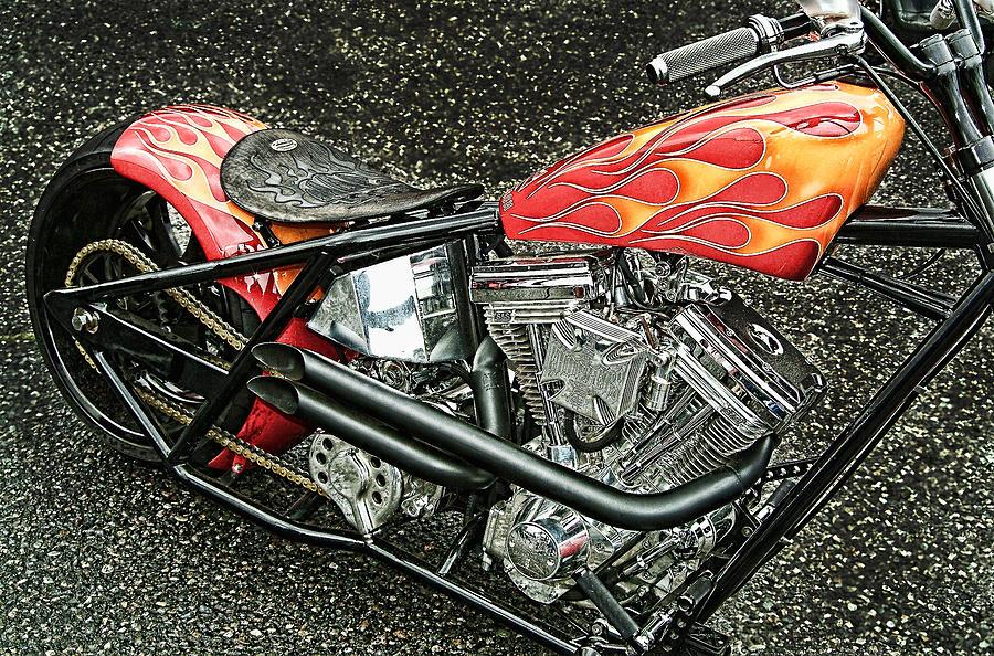 Framed Pyrography - Chopper by Mauro Celotti
