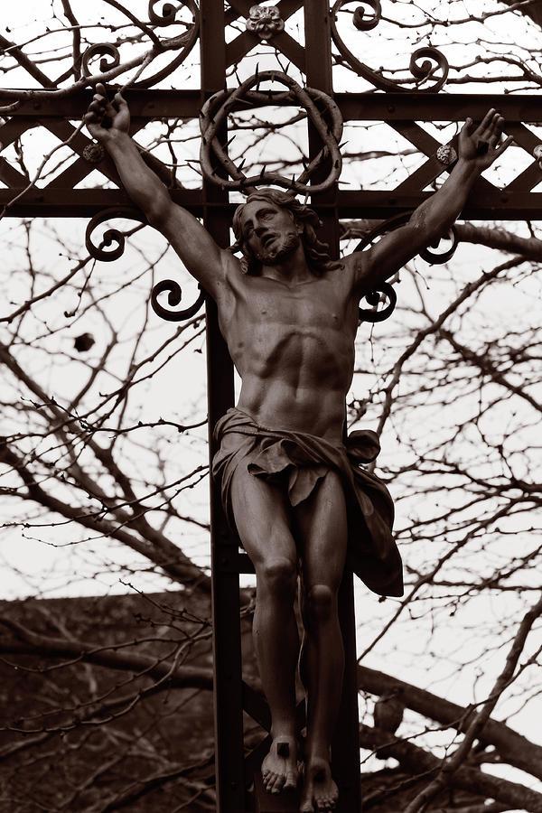 Duotone Photograph - Christ Among The Ruins by Pam Blackstone