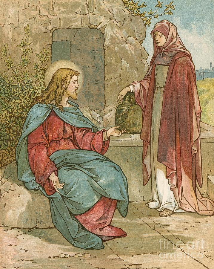 John Lawson Painting - Christ And The Woman Of Samaria by John Lawson