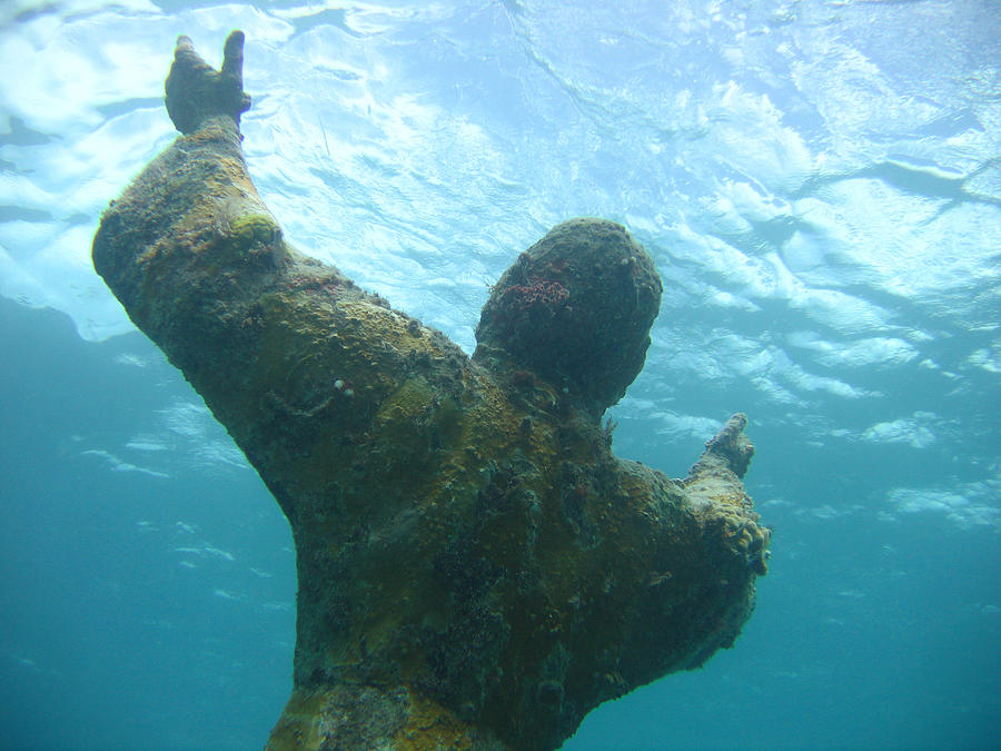 Underwater Photograph - Christ Of The Abyss by Ted Papoulas
