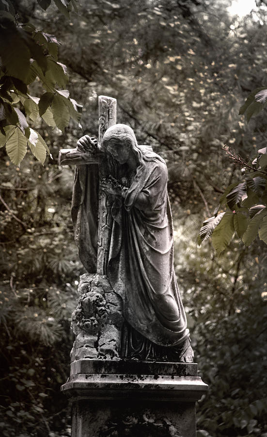 Ancient Photograph - Christ With Cross by Kelly Rader