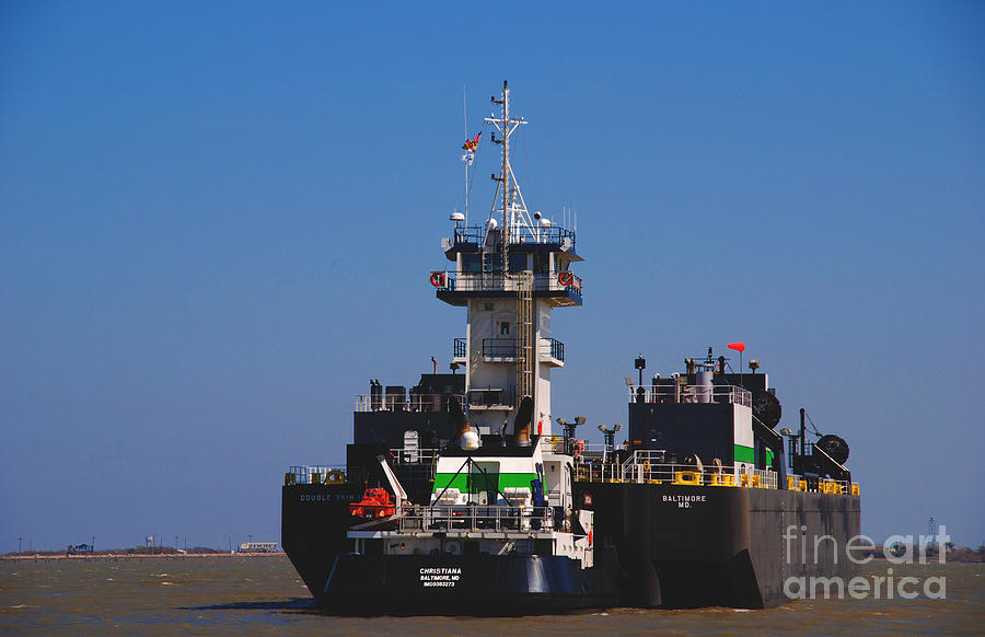 Oil Tanker Photograph - Christiana Oil Tanker Sitting In Galveston Tx by Susanne Van Hulst