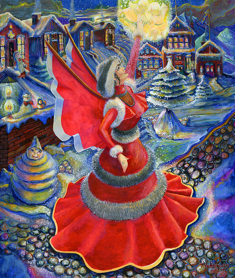 Christmas Angel In Red Dress