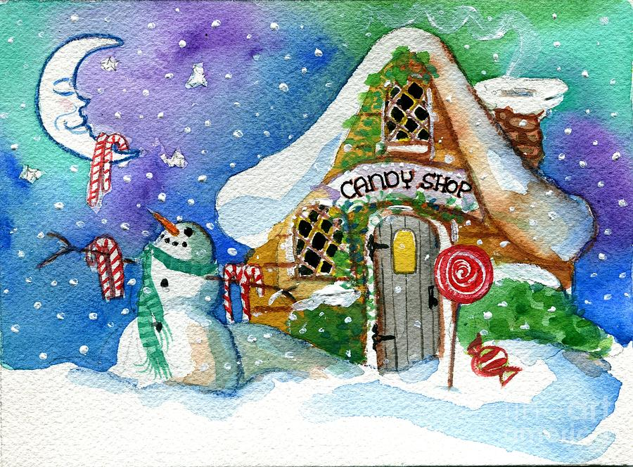 Christmas Painting - Christmas Candy Shop by Sylvia Pimental