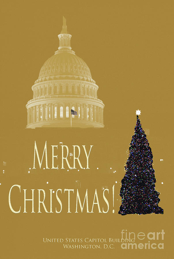 United Photograph - Christmas Card Capitol by Jost Houk