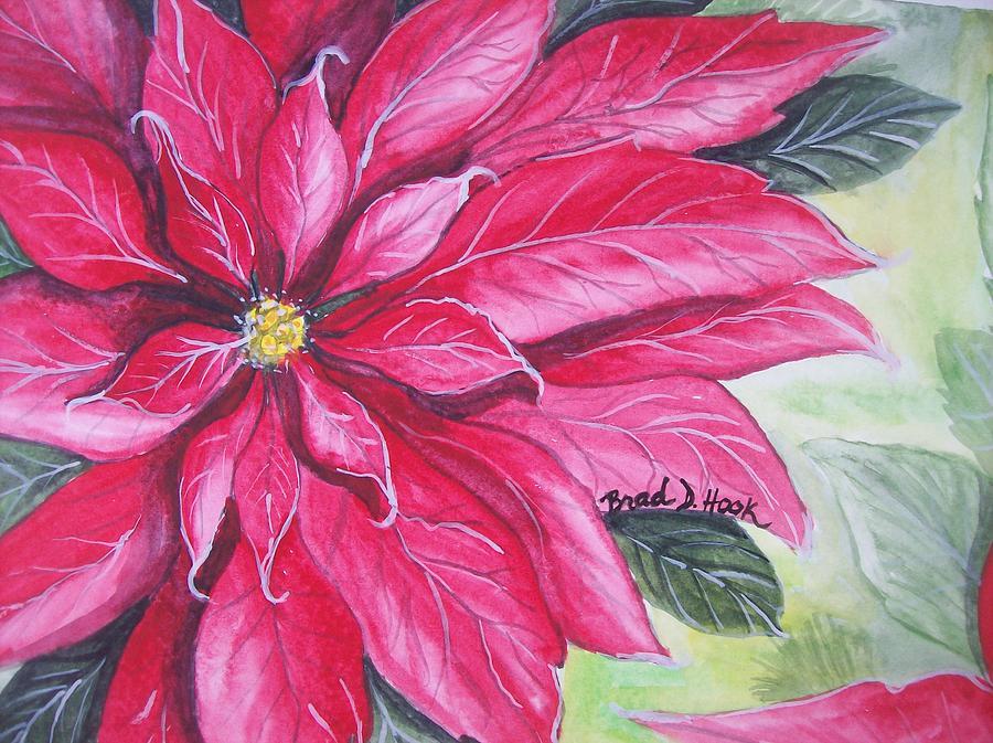 Pointsettia Painting - Christmas Cheer by Brad Hook