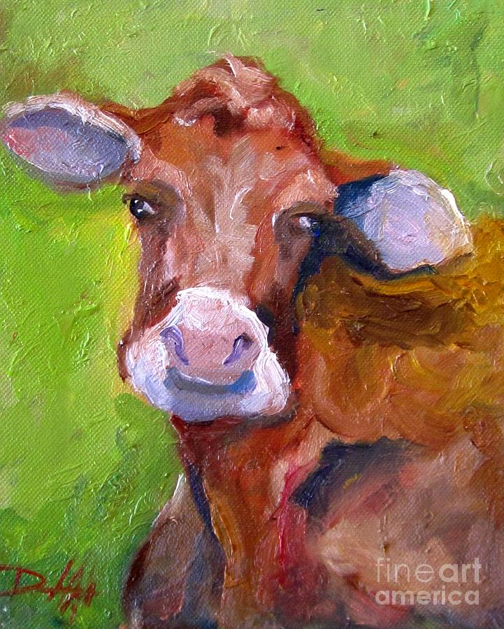 Cow Painting - Christmas Cow On Green by Delilah  Smith