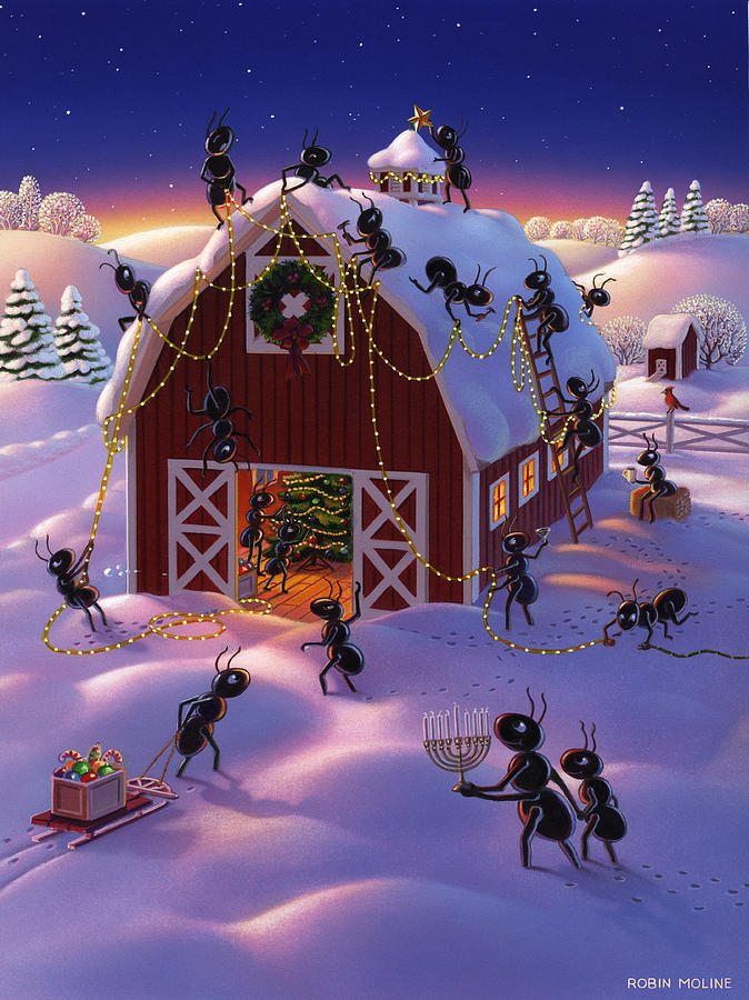 Ants Painting - Christmas Decorator Ants by Robin Moline