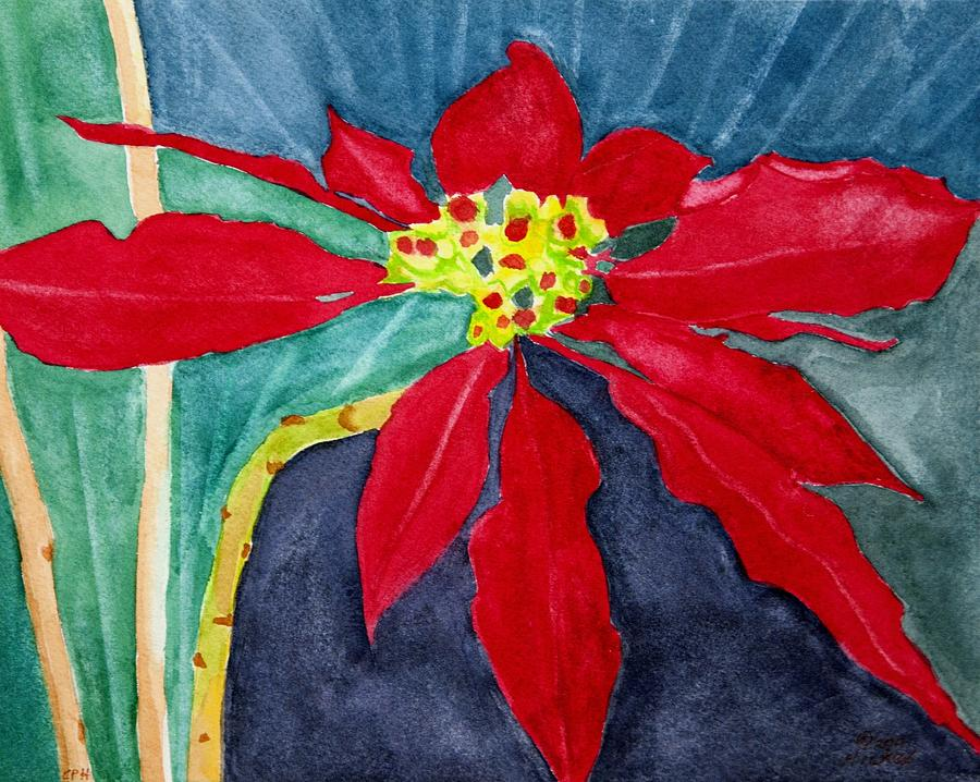 Poinsettia Painting - Christmas Flower by Charlotte Hickcox
