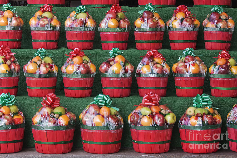 christmas fruit baskets on shelves photograph by woodhouse