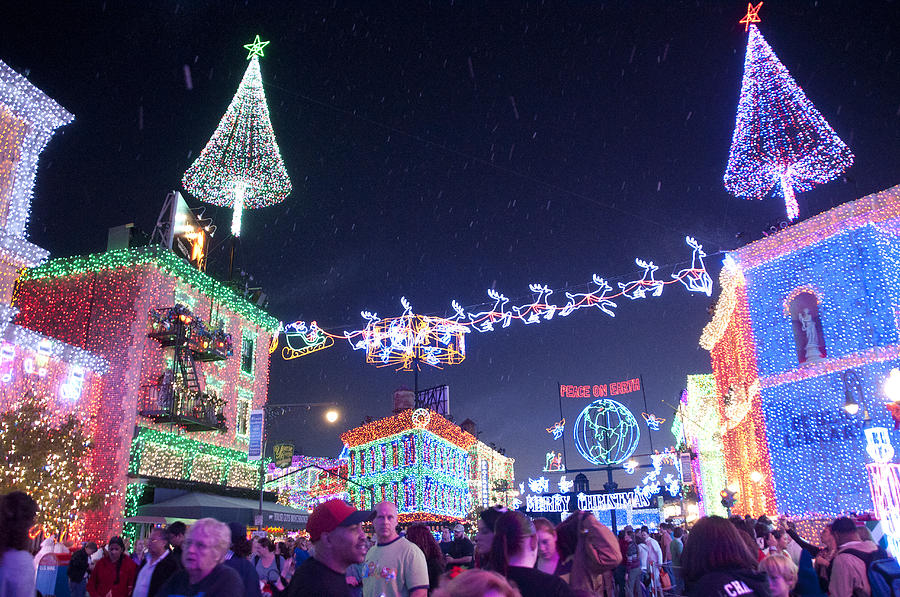 Christmas Photograph - Christmas Lights Street by Charles  Ridgway