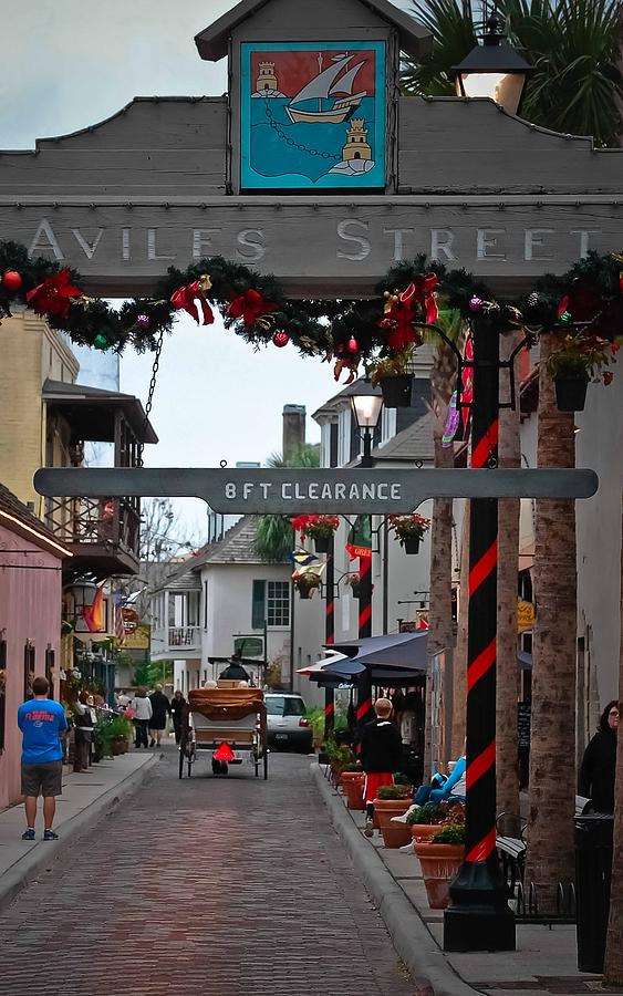 St Augustine Photograph - Christmas On Aviles Street by DigiArt Diaries by Vicky B Fuller