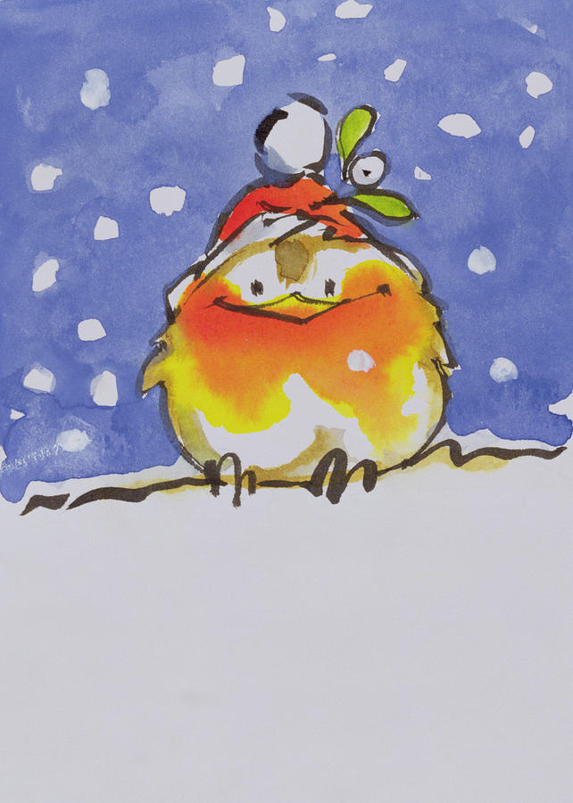Christmas Painting - Christmas Robin by Diane Matthes