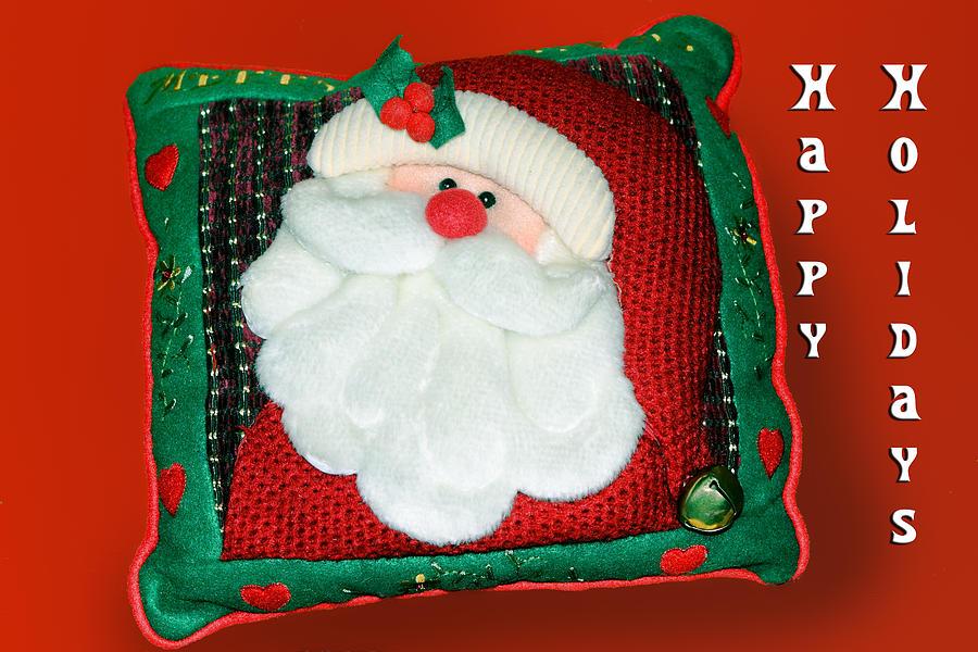 Christmas Photograph - Christmas Santa Pillow by Linda Phelps
