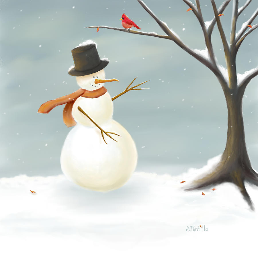 Christmas snowman painting digital art by andrea pontillo Christmas card scenes to paint