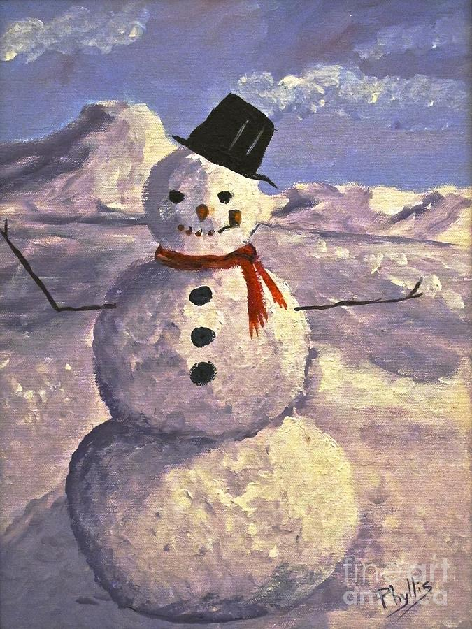 Christmas Snowman Painting By Phyllis Kaltenbach