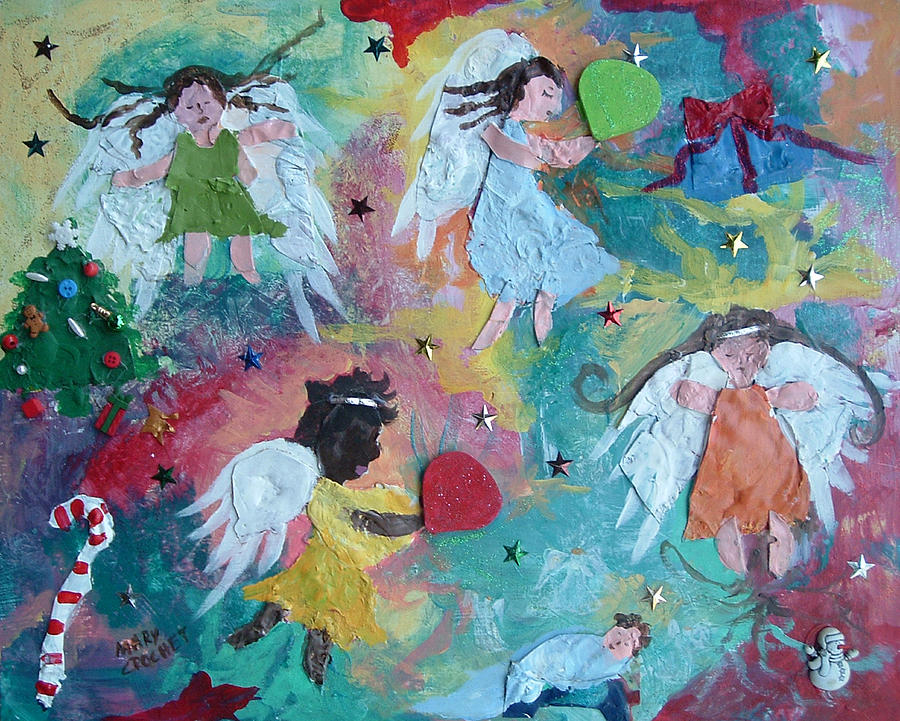 Angels Painting - Christmas Surprise by Mary Crochet