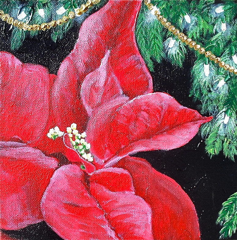 Poinsettia Painting - Christmas Time by Melissa Torres