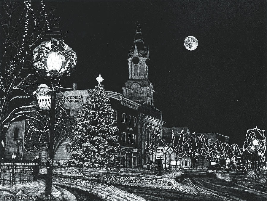 Landscape Drawing - Christmastime by Robert Goudreau