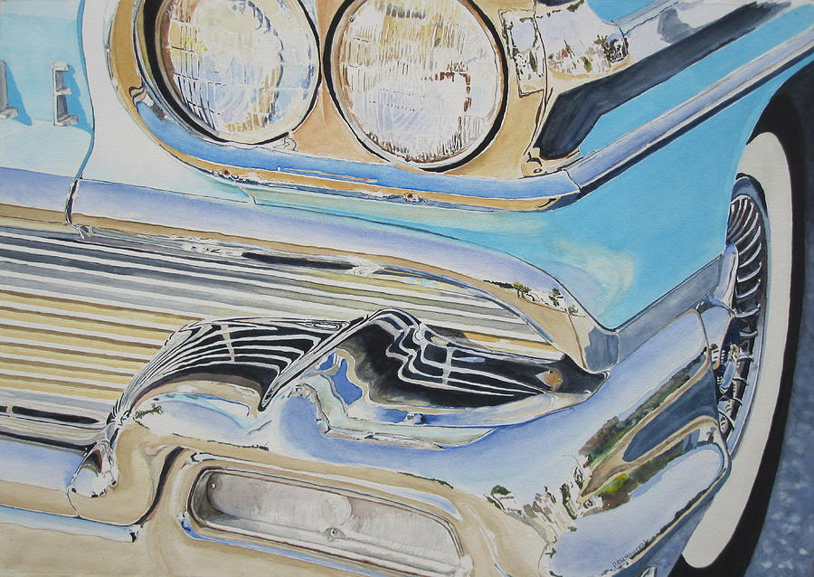 Oldsmobile Painting - Chrome  Ode To An Olds by Patrick DuMouchel