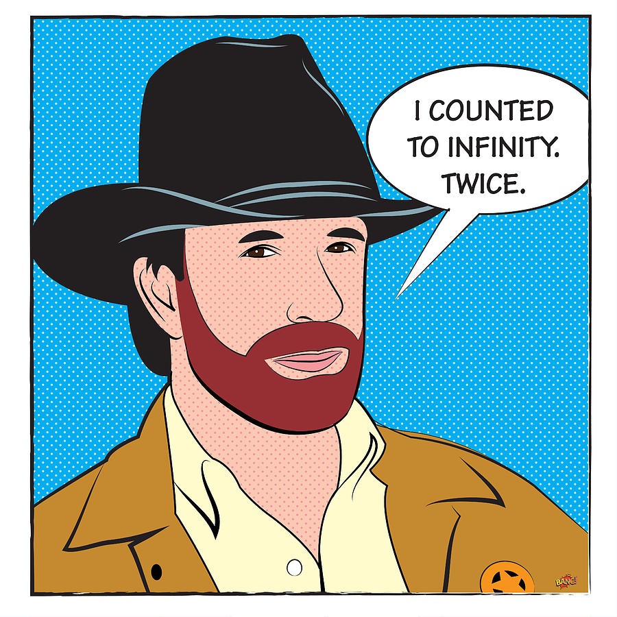 chuck norris. i counted to infinity. twice digital art by yvan goudard, Birthday card