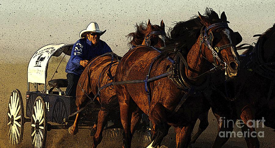 Horses Photograph - Rodeo Chuckwagon Racer by Bob Christopher