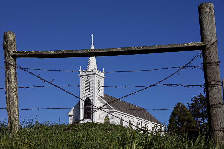 Bodega Photograph - Church And Barbed Wire by Garry Gay