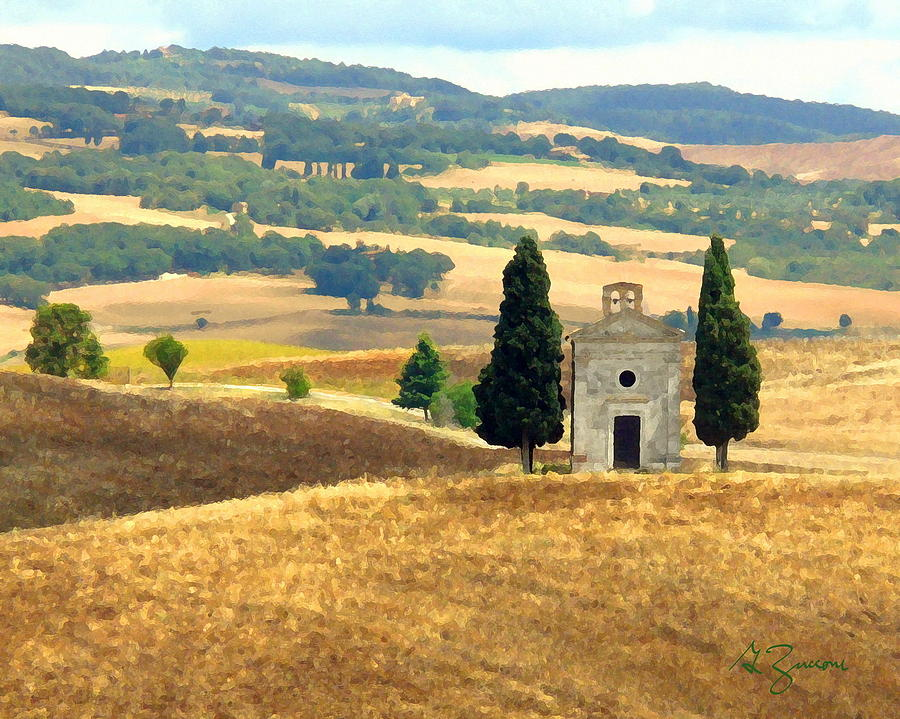 Church And Fields Tuscany Italy Painting By George Zucconi