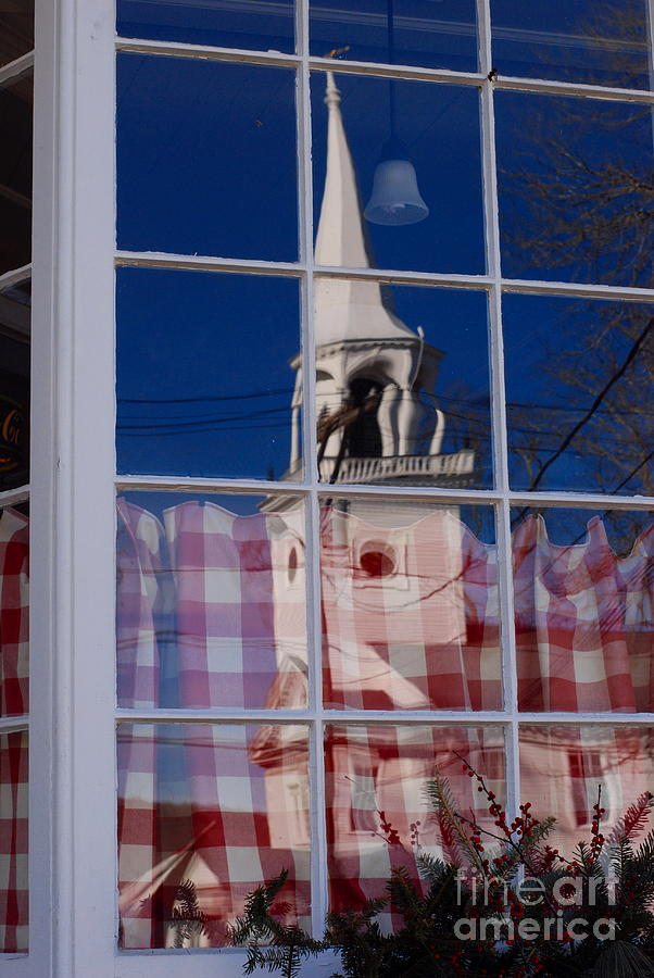 First Congregational Church Photograph - Church In Cafe Window by Andrea Simon