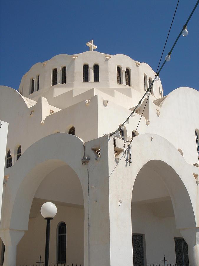 Fira Photograph - Church In Fira On Santorini Greece by Christopher Mullard