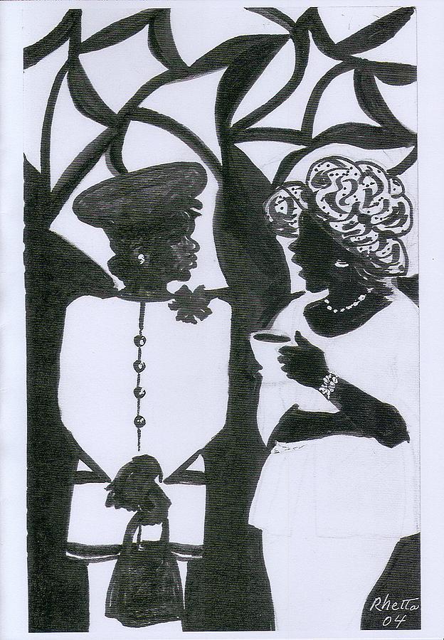 Women Drawing - Church Ladies by Rhetta Hughes
