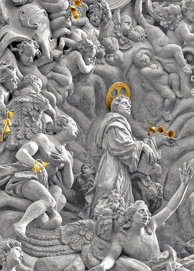 St Photograph - Church Of St James The Greater Prague - Stucco Bas-relief by Christine Till