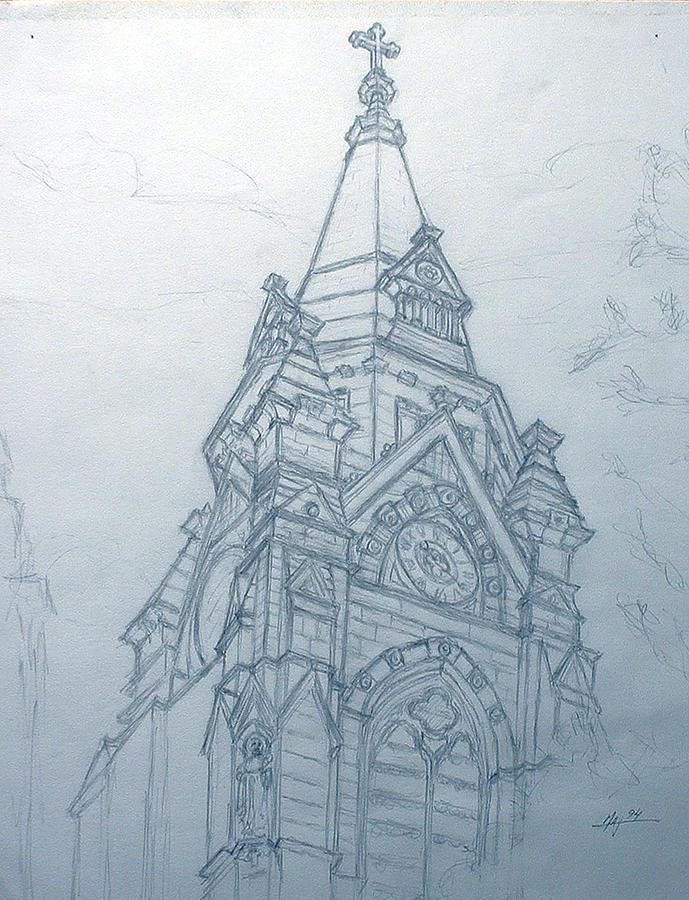 Church Drawing - Church Steaple by Robert Fenwick May Jr