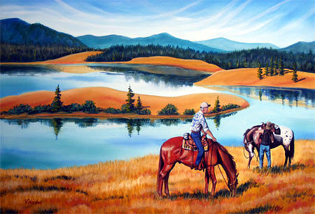 Equine Painting - Cinch Check by Vivian Harder