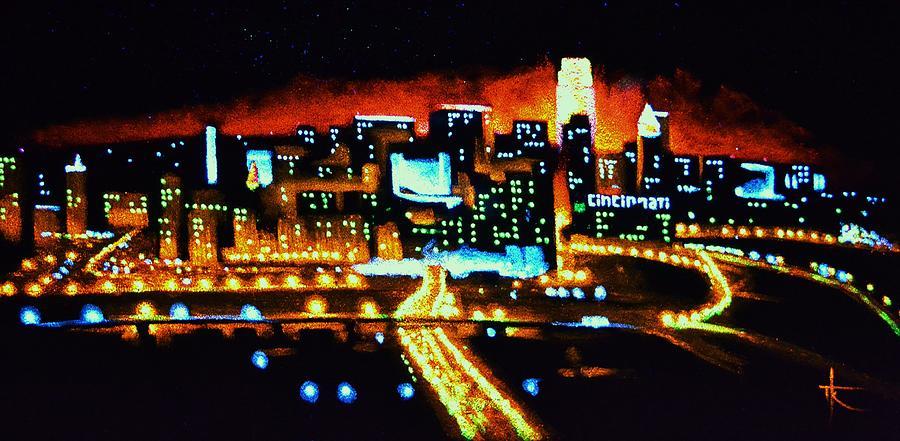 Cincinnati Skyline Painting - Cincinnati By Black Light by Thomas Kolendra
