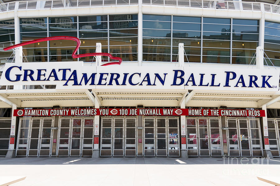 America Photograph - Cincinnati Great American Ball Park Entrance Sign by Paul Velgos