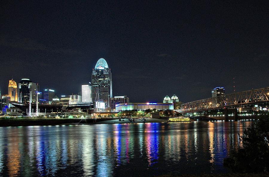 Downtown Photograph - Cincinnati In Lights by Tina Karle