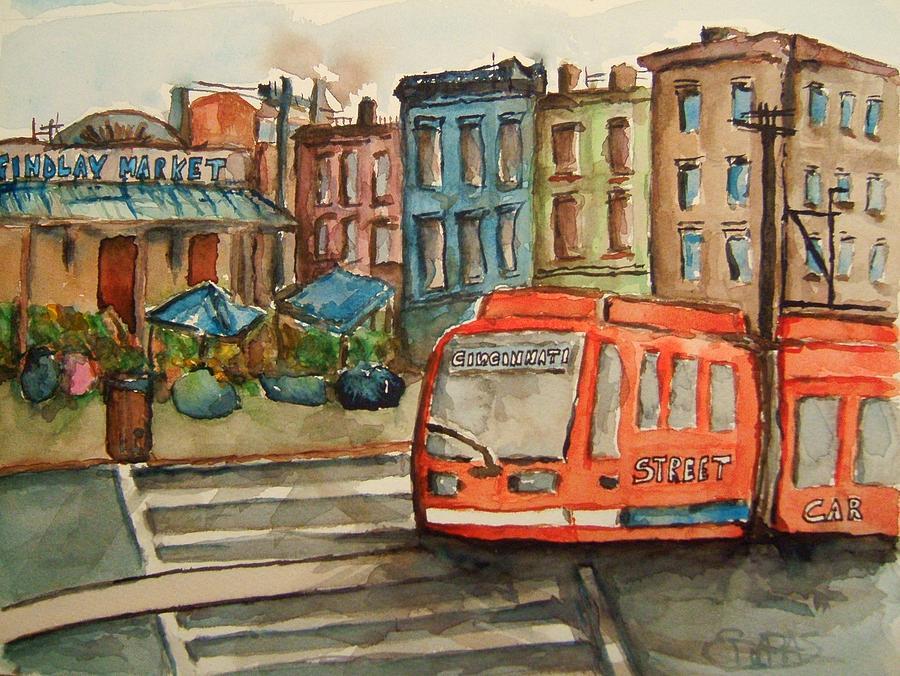 Train Painting - Cincinnati Streetcar by Elaine Duras