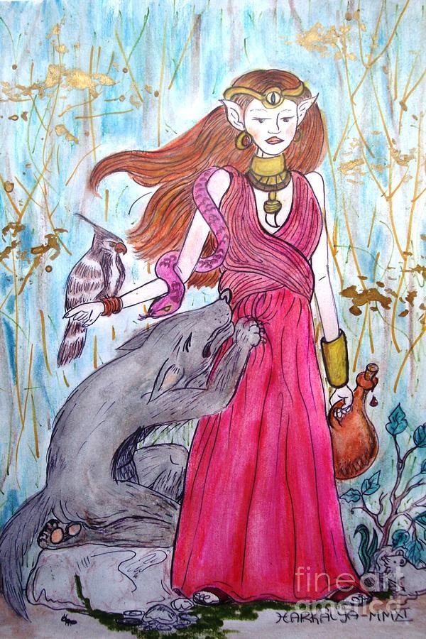 Circe Painting - Circe The Sorceress by Koral Garcia