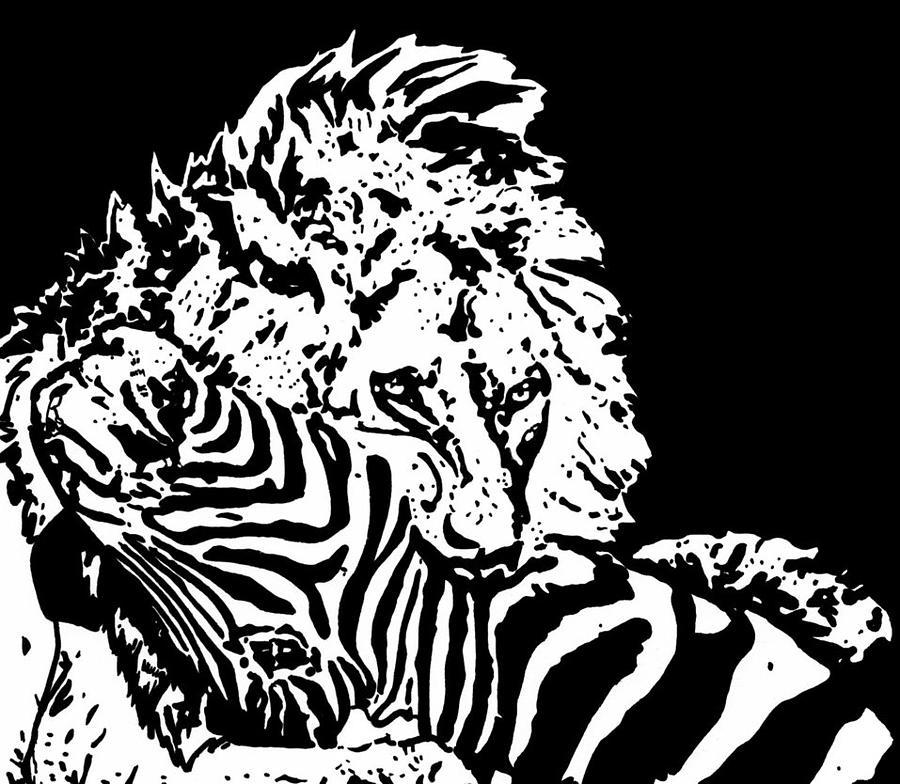 Lion Drawing - Circle Of Life.. by Lori Jackson