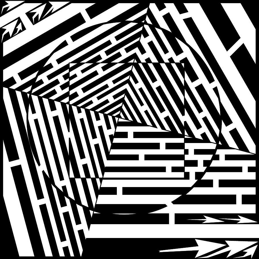 illusion optical maze squares circles frimer yonatan artist digital artwork tunnel piece which uploaded