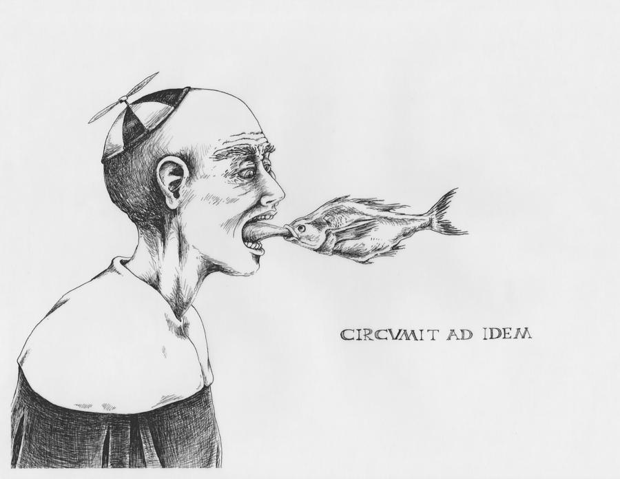 Fish Drawing - Circumit Ad Idem by Canis Canon