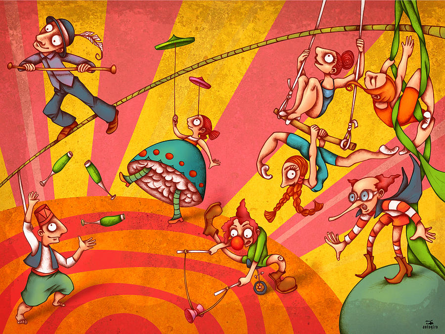 Children Painting - Circus 3 by Autogiro Illustration