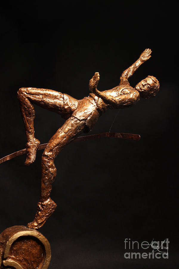 Olympic Sculpture - Citius Altius Fortius Olympic Art High Jumper On Black by Adam Long
