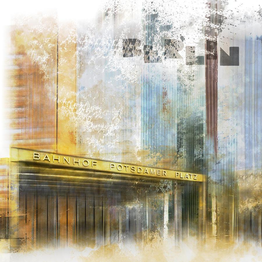 Berlin Digital Art - City-art Berlin Potsdamer Platz by Melanie Viola