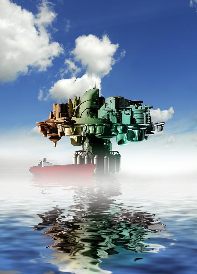 Illustration Photograph - City At Sea, Artwork by Victor Habbick Visions